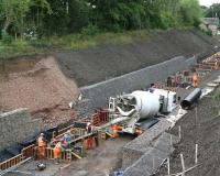 Some serious concrete pouring underway near Gorebridge station on 13 August 2014 [see image 48343].<br><br>[John Furnevel&nbsp;13/08/2014]