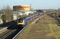 A westbound HST passes through Newbury Race Course station on 6 December 2008.<br><br>[John McIntyre&nbsp;06/12/2008]