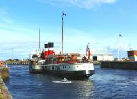 PS <I>Waverley</I> warps herself across from the North Harbour to collect her passengers for the last sail of the season from Ayr to Tarbert Loch Fyne.<br><br>[Colin Miller&nbsp;20/08/2014]