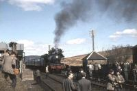 Jubilee 45588 <I>Kashmir</I> makes a photostop at Loch Skerrow on 15 April 1963 with the The SLS/BLS <I>Scottish Rambler No 2</I> joint Easter rail tour.<br><br>[John Robin&nbsp;15/04/1963]