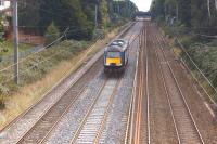 A Grand Central HST power car heading north on the WCML towards Leyland on 23 August 2014 on its way to Heaton from Crewe Works.<br><br>[John McIntyre&nbsp;23/08/2014]