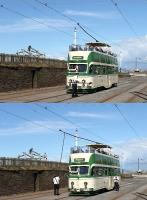 Reversing the trolley pole was once a common tramway scene but now rarely seen due to the almost universal introduction of pantographs. Heritage <I>Open Balloon</I> 706 is on the centre road at Bispham. In the upper picture the conductor is removing the insulated hooked pole from a cabinet in the tram body. The lower image shows the sprung trolley pulled down and <I>walked round</I> to the rear to be put back on the wire.  <br><br>[Mark Bartlett&nbsp;23/08/2014]