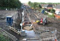 Saturday working at Newtongrange station site on 30 August 2014, looking south from the A7.<br><br>[John Furnevel&nbsp;30/08/2014]