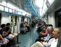 Interior of a Marmaray trans-Bosphorus train serving Istanbul Sirkeci [see image 48507]. <br><br>[John Yellowlees&nbsp;20/08/2014]