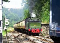 Lambton 0-6-2 Tank No. 29 approaching Goathland with a NYMR train in July 2014.<br><br>[Colin Alexander&nbsp;29/07/2014]