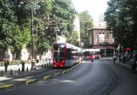 A modern tram passing through the historic Sultanahmet district of Istanbul in August 2014.<br><br>[John Yellowlees&nbsp;20/08/2014]