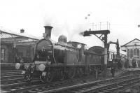 Preserved Caledonian Railway 123 stands at Kilmarnock on 20 April 1962 with the BLS/SLS <I>Scottish Rambler</I> railtour.<br><br>[David Stewart&nbsp;20/04/1962]