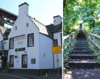 Part of The Hawes Inn, situated under the Forth Bridge approach at South Queensferry, from whence Robert Louis Stevenson's David Balfour was once <I>Kidnapped</I>. Note the sign indicating the stairs to Dalmeny station.<BR/> On the right, the said stairs, which seemed near vertical, and <I>verrrrry</I> long.<br><br>[Colin Miller&nbsp;26/08/2014]