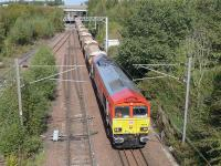 DBS 66114 leads an empty autoballaster train from Nairn into Millerhill Yard on 8 September. 66103 was on the rear.<br><br>[Bill Roberton&nbsp;08/09/2014]