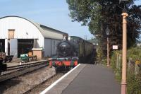 Scene at Williton on the West Somerset Railway on 8 September 2014. GWR 2-6-2T 4160 brings a train into the station en route to Minehead. <br><br>[Peter Todd&nbsp;08/09/2014]