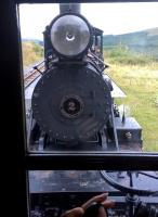 The business end of 4-6-2 locomotive No 2, seen from the caboose in August 2014. [see image 48358]. This engine was built in Philadelphia in 1930, and exported to a South African cement works, where it suffered a serious accident in 1974. It was rebuilt in the BMR workshops at Pant, and went back into service in 1997 after a four year rebuild.<br><br>[Ken Strachan&nbsp;24/08/2014]