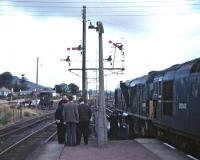 The BR (ScR) <I>Scottish Grand Tour No. 9</I> of 13 September 1969 was worked from Edinburgh to Inverness by D5071 (64B) and D5342 (60A) - the locomotives are seen here at Aviemore where an unscheduled ten minute stop was made.<br><br>[Bill Jamieson&nbsp;13/09/1969]