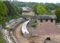 Progress at Gorebridge station site on the morning of 14 September 2014, with housing developments continuing beyond Lady Brae road bridge to the south.<br><br>[John Furnevel&nbsp;14/09/2014]