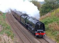 Ex LMSR Pacific 46233 <I>Duchess of Sutherland</I> with the morning SRPS <I>Forth Circle</I> special passing the former Cowdenbeath North Junction, on 14 September 2014.<br><br>[Bill Roberton&nbsp;14/09/2014]