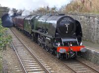 Ex-LMSR 46233 <I>Duchess of Sutherland</I> with the morning SRPS <I>Forth Circle</I> entering Kinghorn station on 14 September.<br><br>[Bill Roberton&nbsp;14/09/2014]