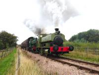 Steam in action on the Pontypool & Blaenavon Railway on 13 September 2014 as Barclay 0-4-0STs <I>Rosyth No 1</I> + <I>United Steel Companies</I> depart from Blaenavon High Level Station.<br><br>[Peter Todd&nbsp;13/09/2014]