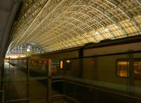 A quiet period on the night of Friday 12 September 2014 under the roof of St Pancras International, with a <I>eurostar</I> standing in the shadows in the foreground.<br><br>[John McIntyre&nbsp;12/09/2014]