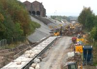 Platform construction underway at Newtongrange on 14 September 2014. The Lady Victoria Colliery site on the left is home to the Scottish Mining Museum and will be linked to the new station via a footpath.<br><br>[John Furnevel&nbsp;14/09/2014]