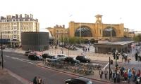 View across Pancras Road towards Kings Cross and the Great Northern Hotel on the evening of 14 September 2014.<br><br>[John McIntyre&nbsp;14/09/2014]