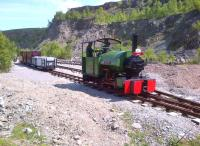 <I>Sir Tom</I> fusses around a few wagons at the top of the Threlkeld Quarry Railway museum line on 18 May.<br><br>[Ken Strachan&nbsp;18/05/2014]