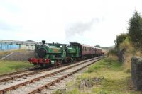 Scene at Furnace Sidings on the Pontypool and Blaenavon Railway as <I>United Steel Companies</I> leads <I>Sir Thomas Royden</I> into the Station on 13 September.<br><br>[Peter Todd&nbsp;13/09/2014]