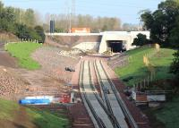 Sleepers being laid under the Edinburgh City Bypass at Sheriffhall on 21 September 2014.<br><br>[John Furnevel&nbsp;21/09/2014]