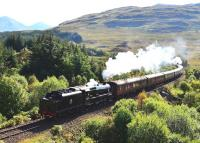 44871 and 45407 top and tail <I>The West Highlander</I> coming out of the sun on 23 September on the gradient between Crianlarich and Tyndrum on the way to Oban.<br><br>[John Gray&nbsp;23/09/2014]