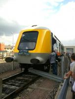 41001, a prototype HST power car, on display at the first ever Open Day to be held at Etches Park depot on 13 September 2014. Notice the cunning rearrangement of the road vehicle crash barrier to allow cab access. [See image 34909]<br><br>[Ken Strachan&nbsp;13/09/2014]