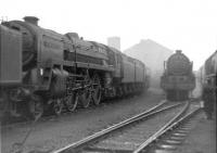 A misty morning at Polmadie in 1960, with Clan, Royal Scot and Coronation Pacific locomotives amongst the various types on display in the shed yard.<br><br>[David Stewart&nbsp;//1960]