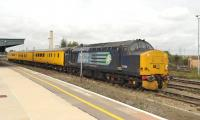 DRS 37688 stands alongside Didcot station on 24 September at the head of a Network Rail Track Measurement train.<br><br>[Peter Todd 24/09/2014]