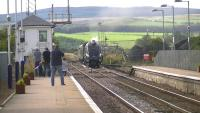 <i>The Scottish Lowlander</i> approaching New Cumnock on 27 September 2014 behind 60009 <I>Union of South Africa</I>.<br><br>[Ken Browne&nbsp;27/09/2014]