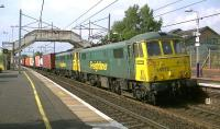 Freightliner class 86s, 86613 + 86639 with 4M74 Coatbridge to Crewe Basford Hall intermodal passing south through Carluke station on 4 September 2014.<br><br>[Ken Browne&nbsp;04/09/2104]