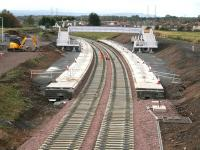 Looking ready for tracklaying - Shawfair 5 October 2014.<br><br>[John Furnevel&nbsp;05/10/2014]