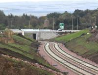 Looking south from Shawfair towards the Edinburgh City Bypass on 5 October 2014 from the realigned A6106 road. Sheriffhall roundabout is just off picture to the right.<br><br>[John Furnevel&nbsp;05/10/2014]