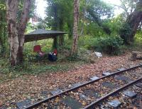 Basic temporary facilities for the blockman at Delph controlling access to and from the station and the single line to Beconsall during the West Lancashire Light Railway Gala on 5 October 2014. The chair was surprisingly comfortable...<br><br>[John McIntyre&nbsp;05/10/2014]