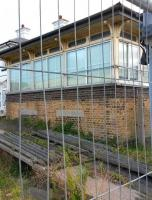 The signal box at the entrance to the closed Folkestone Harbour station on 1 October 2014. [See image 48913] [Ref query 14875]<br><br>[Brian Smith&nbsp;01/10/2014]