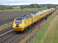The New Measurement Train heading west towards Linlithgow at Park Farm on 6 October.<br><br>[Bill Roberton&nbsp;06/10/2014]