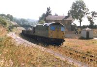 An unidentified Class 26 heads a materials recovery train north through Gorebridge in the late summer of 1971. <br><br>[Neil Hay/Stuart Hay Collection (Courtesy David Spaven)&nbsp;//1971]
