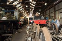 An interior view of the GCR's Loughborough shed on 2 October 2014.<br><br>[Peter Todd&nbsp;02/10/2014]