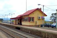 The up side building at the country station of Clarkfield, on the line from Melbourne to Bendigo, in September 2014. The village it serves consists of around 12 houses and a large Victorian Hotel. <br><br>[Colin Miller&nbsp;25/09/2014]