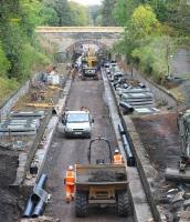 View north over the works at the site of the old Eskbank station on 5 October 2014.<br><br>[John Furnevel&nbsp;05/10/2014]