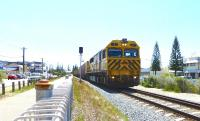 On the dual gauge [standard and 3'6'] track south through Fremantle, ARG (Australian Railroad Group - a subsidiary of Queensland Rail) Q4017 heads a container train on 6 October 2014.<br><br>[Colin Miller&nbsp;06/10/2014]