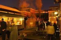 Ex LMS Crab no. 13065 at the head of the East Lancashire Railway's <I>Red Rose Diner</I> at Bury Bolton Street on the evening of 10 October, featuring intending passengers, as well as those visiting the hostelry on the platform.<br><br>[John McIntyre&nbsp;10/10/2014]