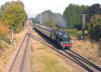 Preserved class D49 4-4-0 no 62712 <I>Morayshire</I> approaching Quorn & Woodhouse station on 2 October 2014 with a GCR service from Loughborough Central to Leicester North.<br><br>[Peter Todd&nbsp;02/10/2014]