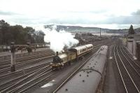HR 103 approaching Perth from the south with the preserved Caledonian coaches on 21 August 1965 on its way to Inverness for the Highland Railway Centenary celebrations.<br><br>[John Robin&nbsp;21/08/1965]
