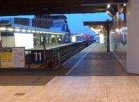 The dead end platforms 11 and 12 at London Bridge station, unusually devoid of trains. Photographed looking east from the station concourse at dusk on 12th June 2014. [See image 10056]<br><br>[Ken Strachan&nbsp;12/06/2014]
