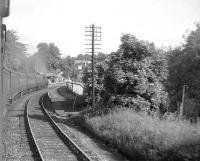 View from a morning commuter train for Glasgow approaching Thornliebank on 20 June 1964 behind BR Standard tank 80120. [Ref query 6894] <br><br>[John Robin&nbsp;20/06/1964]
