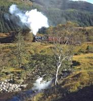 A clear morning on 15 October 2014 sees Black 5 45407 lifting the Mallaig bound <I>Jacobite </I> away from Glenfinnan.<br><br>[Bill Jamieson&nbsp;15/10/2014]