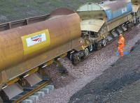 Ballast dropping on the Borders Railway at Newtongrange on 22 October 2014.<br><br>[Bill Roberton&nbsp;22/10/2014]