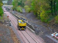 A road-railer passes through the old Eskbank station site on 22 October 2014.<br><br>[Bill Roberton&nbsp;22/10/2014]